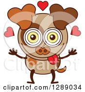 Clipart Of A Smitten Borwn Dog In Love Royalty Free Vector Illustration by Zooco