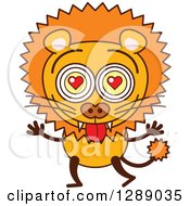 Clipart Of A Smitten Male Lion In Love Royalty Free Vector Illustration by Zooco