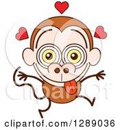 Clipart Of A Smitten Brown Monkey In Love Royalty Free Vector Illustration by Zooco