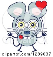 Clipart Of A Smitten Gray Mouse In Love Holding A Heart Balloon Royalty Free Vector Illustration by Zooco