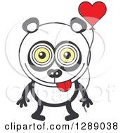 Clipart Of A Smitten Panda In Love Holding A Heart Balloon Royalty Free Vector Illustration by Zooco