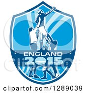 Clipart Of A Rugby Union Player Catching Lineout Ball In A Blue And White England 2015 Shield Royalty Free Vector Illustration