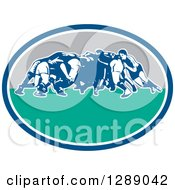 Clipart Of Retro Rugby Union Players In A Scrum In A Blue White Turquoise And Gray Oval Royalty Free Vector Illustration