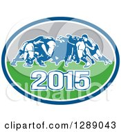 Clipart Of Retro Rugby Union Players In A Scrum In A Blue White Turquoise And Gray 2015 Oval Royalty Free Vector Illustration