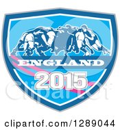 Clipart Of Retro Rugby Union Players In A Scrum In A Blue White And Pink England 2015 Shield Royalty Free Vector Illustration