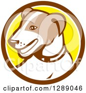 Clipart Of A Retro Cartoon Jack Russell Terrier Dog In A Brown White And Yellow Circle Royalty Free Vector Illustration