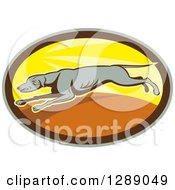 Clipart Of A Retro Cartoon Greyhound Dog Running In A Sunny Gray Brown And Yellow Oval Royalty Free Vector Illustration by patrimonio