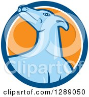 Clipart Of A Retro Cartoon Greyhound Dog In A Blue White And Orange Circle Royalty Free Vector Illustration