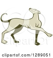 Clipart Of A Retro Cartoon Greyhound Dog Marching Royalty Free Vector Illustration by patrimonio