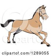 Clipart Of A Cartoon Retro Kneeling Horse Royalty Free Vector Illustration