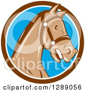 Clipart Of A Cartoon Retro Horse Head With A Bridle In A Brown White And Blue Circle Royalty Free Vector Illustration