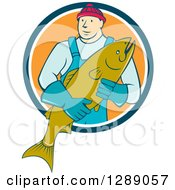 Clipart Of A Cartoon Male Fishmonger Holding A Catch And Emerging From A Blue White And Orange Circle Royalty Free Vector Illustration by patrimonio