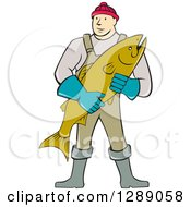 Clipart Of A Cartoon Male Fishmonger Holding A Catch Royalty Free Vector Illustration