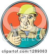Poster, Art Print Of White Male Construction Worker Holding A Radio Phone In A Blue Black And Orange Circle