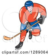 Clipart Of A Cartoon White Male Hockey Player Skating In A Red And Blue Uniform Royalty Free Vector Illustration