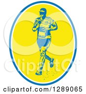 Clipart Of A Retro Male Marathon Runner With In A Blue White And Yellow Oval Royalty Free Vector Illustration