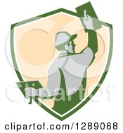 Clipart Of A Rear View Of A Retro Male Plasterer Working In A Green White And Beige Shield Royalty Free Vector Illustration