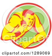 Clipart Of A Retro Male Track And Field Shot Put Athlete Throwing In A Pink White And Green Circle Royalty Free Vector Illustration by patrimonio