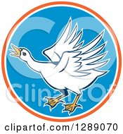 Clipart Of A Cartoon Angry White Swan In An Orange White And Blue Circle Royalty Free Vector Illustration