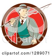 Retro Cartoon White Male Tourist Walking With A Fly Fishing Rod Over His Shoulder In A Maroon White And Red Circle