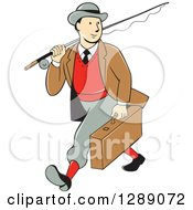 Clipart Of A Retro Cartoon White Male Tourist Walking And Carrying A Suitcase And Fly Fishing Rod Royalty Free Vector Illustration by patrimonio