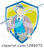 Clipart Of A Retro Cartoon White Male Tourist Walking With A Fly Fishing Rod Over His Shoulder In A Blue White And Green Shield Royalty Free Vector Illustration