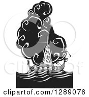 Clipart Of A Black And White Woodcut Ceremony Of A Viking Chief Being Burned On A Longboat Royalty Free Vector Illustration