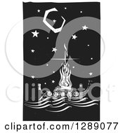 Clipart Of A Black And White Woodcut Ceremony Of A Viking Chief Being Burned On A Longboat Under A Night Sky Royalty Free Vector Illustration