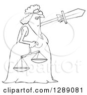 Black And White Tough Blindfolded Lady Justice Holding Scales And Pointing With A Sword