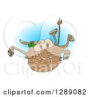 Clipart Of A Brown Cow Free Falling While Skydiving Over Blue Royalty Free Illustration by Dennis Cox