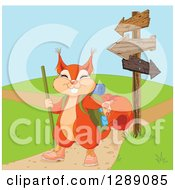 Cute Presenting Squirrel In Hiking Gear By Arrow Signs And Paths