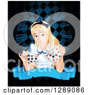 Clipart Of Alice In Wonderland Pouring Tea Over A Clock And Blank Banner On Black Royalty Free Vector Illustration by Pushkin