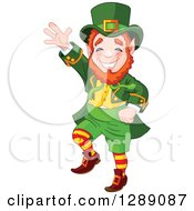 Holiday Clipart Of A Cheerful St Patricks Day Leprechaun Dancing Royalty Free Vector Illustration by Pushkin