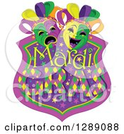 Clipart Of A Purple Green And Gold Mardi Gras Shield With Masks Royalty Free Vector Illustration