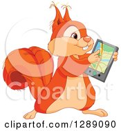 Animal Clipart Of A Cute Squirrel Using A Gps Navigator Gadget Royalty Free Vector Illustration by Pushkin