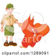 Animal Clipart Of A Cute Giant Squirrel Shaking Hands With A White Male Park Ranger Royalty Free Vector Illustration by Pushkin