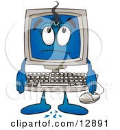 Desktop Computer Mascot Cartoon Character With A Hole In His Screen