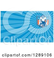 Clipart Of A Retro Cyclist And American Shield And Blue Rays Background Or Business Card Design Royalty Free Illustration
