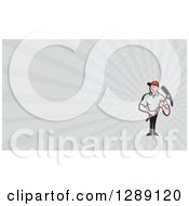 Poster, Art Print Of Cartoon Male Construction Worker Holding A Pickaxe And Gray Rays Background Or Business Card Design