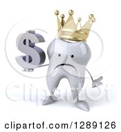 Clipart Of A 3d Unhappy Crowned Tooth Character Shrugging And Holding A Dollar Symbol Royalty Free Illustration