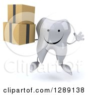 Clipart Of A 3d Happy Tooth Character Jumping And Holding Boxes Royalty Free Illustration