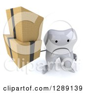 Clipart Of A 3d Unhappy Tooth Character Holding Up Boxes Royalty Free Illustration