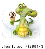 Clipart Of A 3d Crocodile Holding Up A Waffle Ice Cream Cone Royalty Free Illustration