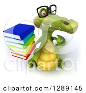Clipart Of A 3d Bespectacled Crocodile Holding Up A Thumb Down And A Stack Of Books Royalty Free Illustration