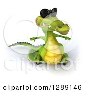 Clipart Of A 3d Crocodile Wearing Sunglasses And Skateboarding 3 Royalty Free Illustration