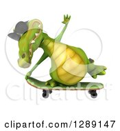Clipart Of A 3d Crocodile Wearing Sunglasses And Skateboarding 4 Royalty Free Illustration