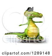 Clipart Of A 3d Crocodile Wearing Sunglasses And Skateboarding Royalty Free Illustration