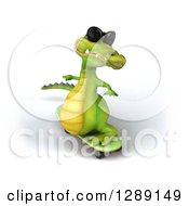 Clipart Of A 3d Crocodile Wearing Sunglasses And Skateboarding 2 Royalty Free Illustration