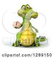 Clipart Of A 3d Crocodile Holding A Human Brain Royalty Free Illustration