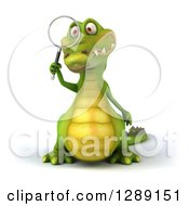 Clipart Of A 3d Crocodile Looking Through A Magnifying Glass Royalty Free Illustration